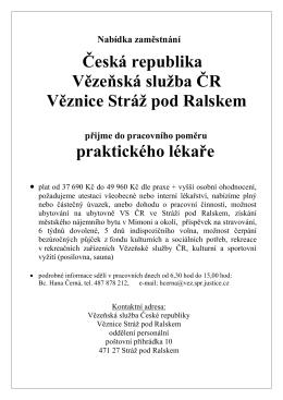 nabídka zaměstnání - Vězeňská služba České republiky