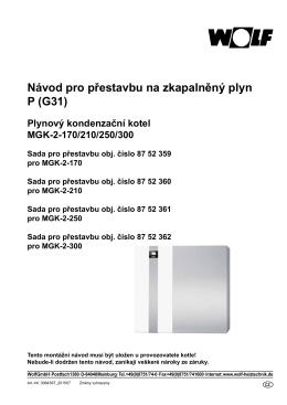 Návod pro přestavbu na zkapalněný plyn P (G31)