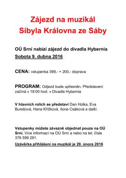 Zájezd na muzikál Sibyla Královna ze Sáby