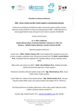 Pozvánka na tiskovou konferenci HBSC