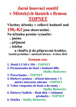 Jarní soutěž s firmou Topnet 2016