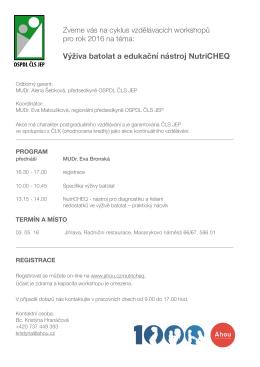 Výživa batolat a edukační nástroj NutriCHEQ