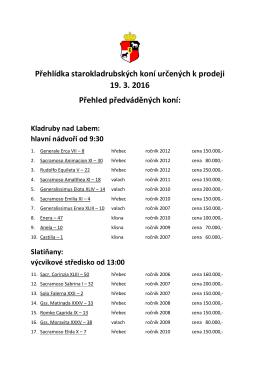 Přehlídka starokladrubských koní určených k prodeji 19. 3. 2016