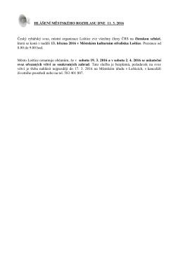 Hlášení městského rozhlasu dne 11.3.2016