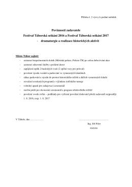 Povinnosti zadavatele Festival Táborská setkání 2016 a Festival