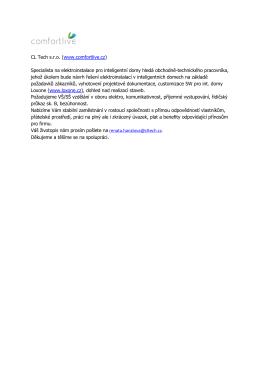 CL Tech s.r.o. (www.comfortlive.cz) Specialista na elektroinstalace