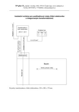 Instalační schéma pro podhladinové rolety (řídící