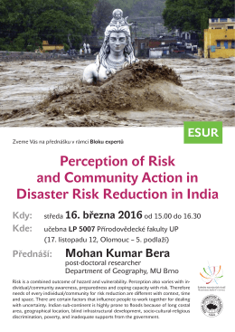 Perception of Risk and Community Action in Disaster Risk