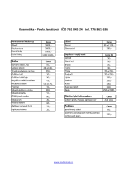 Kosmetika - Pavla Janáčová IČO 761 045 24 tel. 776 861 636