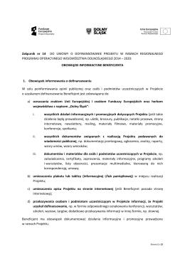 Załącznik nr 14 Obowiązki informacyjne Beneficjenta EFRR