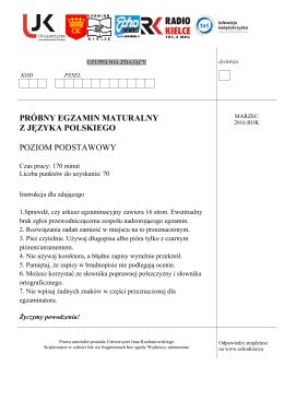 pobierz arkusz - Uniwersytet Jana Kochanowskiego w Kielcach