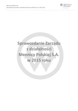 Sprawozdanie Zarządu z działalności Mennicy Polskiej
