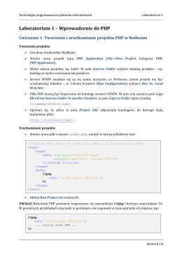 Laboratorium 1 – Wprowadzenie do PHP