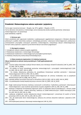 Przedmiot: Meteorologiczna osłona wybrzeża i pojezierzy