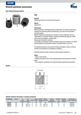 Arkusz danych K0399 Wstawki gwintowe wzmocnione