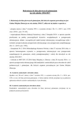 Rekrutacja do klas pierwszych gimnazjum na rok szkolny 2016/2017