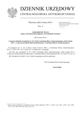 Zarządzenie Nr 4/16 z dnia 9 marca 2016 r.