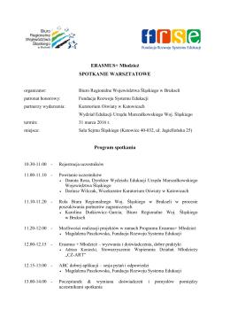 Program spotkania - Biuro Regionalne Województwa Śląskiego w