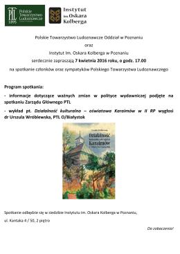 Polskie Towarzystwo Ludoznawcze Oddział w Poznaniu oraz
