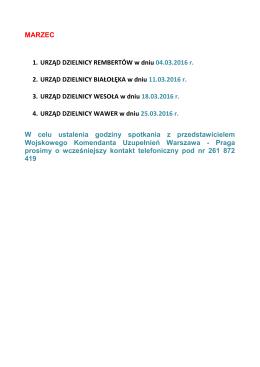 MARZEC 1. URZĄD DZIELNICY REMBERTÓW w dniu 04.03.2016 r
