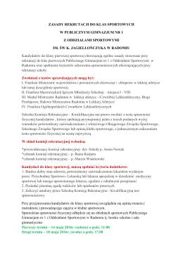zasady rekrutacji do klas sportowych w publicznym gimnazjum nr 1