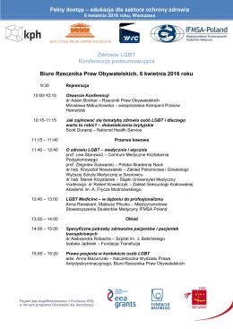 Program konferencji - Kampania Przeciw Homofobii