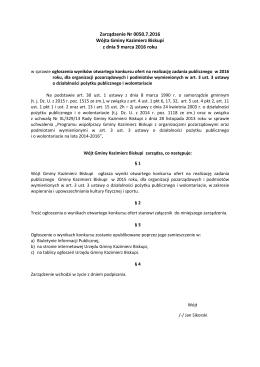 Zarządzenie Nr 0050.7.2016 Wójta Gminy Kazimierz Biskupi z dnia