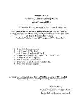 Komunikat nr 6 Wydziałowej Komisji Wyborczej WTMiT z dnia 11