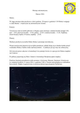 Miesiąc astronomiczny Marzec 2016 Słońce W ciągu miesiąca dnia