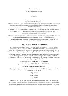 """Sprzedaż premiowa """" Apteczka klimatyzacyjna 2016"""" Regulamin 1"""