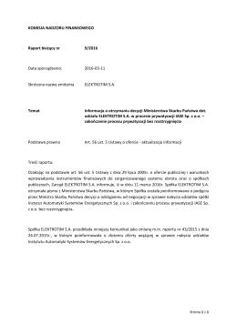 Raport nr 9-2016 - Elektrotim S.A