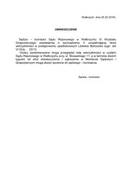 VI GUp 23-13 obwieszczenie o sporządzeniu I uzupełniającej listy
