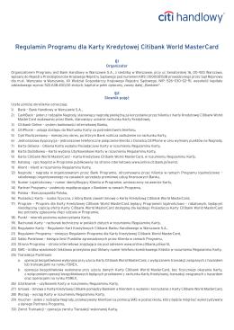 Regulamin Programu dla Karty Kredytowej Citi