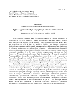 Recenzja rozprawy - prof. IBWCh dr hab. inż. Dariusz Wawro