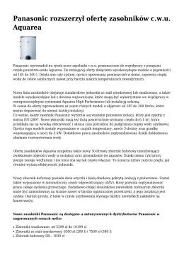 Panasonic rozszerzył ofertę zasobników cwu