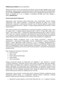 Polityka prywatności serwisu StepOne.pl