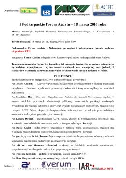 I Podkarpackie Forum Audytu – 18 marca 2016 roku