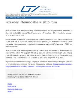Przewozy intermodalne w 2015 roku