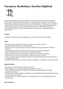 Taconova: Rozdzielacz TacoSys HighEnd