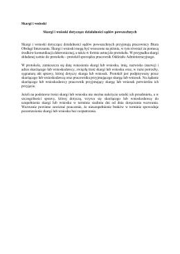 Skargi i wnioski dotyczące działalności sądów powszechnych