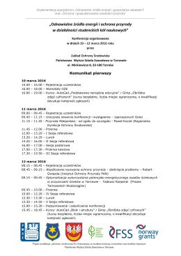 Konferencja 10-12 marca 2016 – komunikat 1