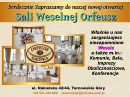 Sali Weselnej Orfeusz
