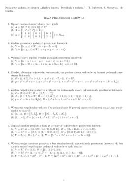 Uzupełniająca LISTA ZADAŃ - bazy przestrzeni liniowych
