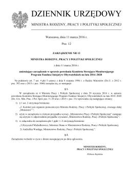 dziennik urzędowy - Ministerstwo Rodziny, Pracy i Polityki Społecznej