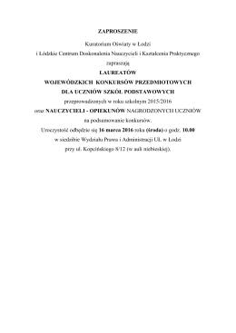 ZAPROSZENIE Kuratorium Oświaty w Łodzi i Łódzkie Centrum