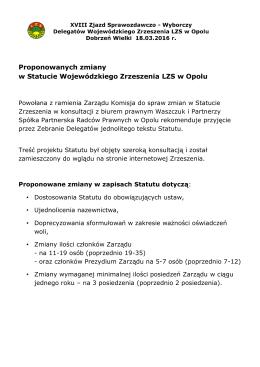 Proponowanych zmiany w Statucie Wojewódzkiego