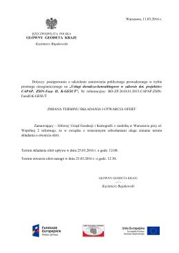 Zmiana terminu składania i otwarcia ofert z dnia 11.03.2016