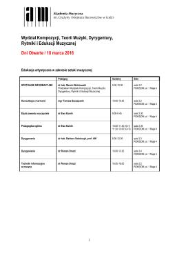 Wydział Kompozycji, Teorii Muzyki, Dyrygentury, Rytmiki i Edukacji