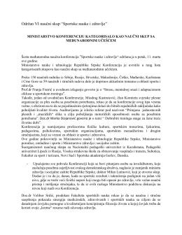"""Održan VI naučni skup """"Sportske nauke i zdravlje"""""""
