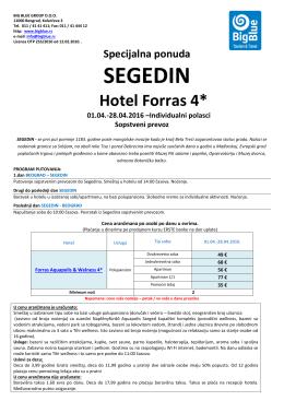 FORRAS Hotel - specijalna ponuda - Turistička agencija Big Blue